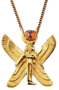 Altägyptisches Tierkreiszeichen 'Jungfrau' (24.8.-23.9.) mit Glücksstein Zitrin, Collier, Schmuck