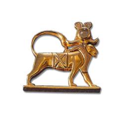 Altägyptisches Tierkreiszeichen 'Löwe' (23.7.-23.8.) mit Glücksstein Bergkristall, Brosche, Brosche, Schmuck