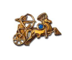 Altägyptisches Tierkreiszeichen 'Schütze' (23.11.-21.12.) mit Glücksstein Achat, Brosche, Brosche, Schmuck