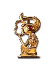 Altägyptisches Tierkreiszeichen 'Skorpion' (24.10.-22.11.) mit Glücksstein Karneol, Brosche, Brosche, Schmuck