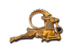 Altägyptisches Tierkreiszeichen 'Steinbock' (22.12.-20.1.) mit Glücksstein Onyx, Brosche, Brosche, Schmuck