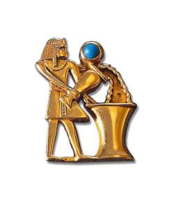 Altägyptisches Tierkreiszeichen 'Wassermann' (21.1.-19.2.) mit Glücksstein Türkis, Brosche, Brosche, Schmuck