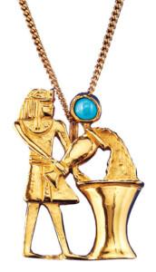 Altägyptisches Tierkreiszeichen 'Wassermann' (21.1.-19.2.) mit Glücksstein Türkis, Collier, Schmuck