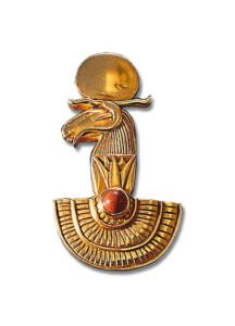 Altägyptisches Tierkreiszeichen 'Widder' (21.3.-20.4.) mit Glücksstein Jaspis, Brosche, Brosche, Schmuck