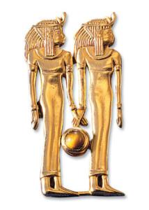 Altägyptisches Tierkreiszeichen 'Zwillinge' (21.5.-21.6.) mit Glücksstein Tigerauge, Brosche, Brosche, Schmuck