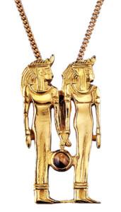 Altägyptisches Tierkreiszeichen 'Zwillinge' (21.5.-21.6.) mit Glücksstein Tigerauge, Collier, Schmuck