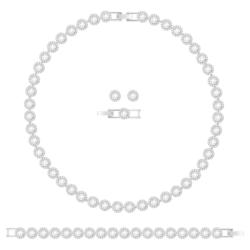 Angelic Halskettenset, weiss, Rhodiniert