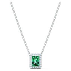 Angelic Rectangular Halskette, grün, rhodiniert