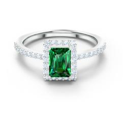Angelic Rectangular Ring, grün, rhodiniert