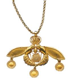 Anhänger / Brosche 'Minoische Bienen' mit Halskette, Schmuck