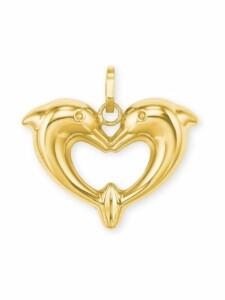 Anhänger für Damen, Gold 585, Delphin amor Gold