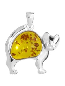 Anhänger – Katze – Silber 925/000 – Bernstein OSTSEE-SCHMUCK silber