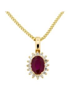 Anhänger mit Kette 585/- Gelbgold Brillant + Rubin 585/- Gold Rubin rot Rubin 42/45cm Glänzend Orolino gelb