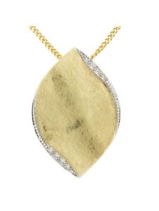 Anhänger mit Kette 585/- Gold Brillant weiß Brillant 42/45cm Matt 0.0600 Karat Orolino gelb