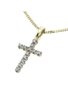 Anhänger mit Kette 585/- Gold Diamant weiß Diamant 42/45 cm Glänzend 0,12ct. Diamonds by Ellen K. gelb