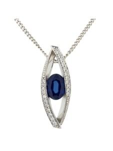 Anhänger mit Kette 585/- Gold Safir blau Safir 42/45cm Glänzend 0.1100 Karat Orolino Silbergrau