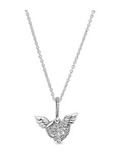 Anhänger mit Kette -Herz & Engelsflügel- Pandora Silberfarben