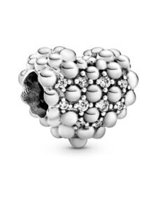 Charm – Funkelndes Metallperlen-Herz – Pandora Silberfarben