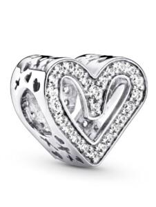 Charm – Funkelndes Freihand-Herz – Pandora Silberfarben