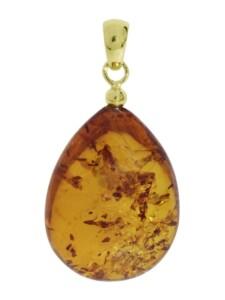 Anhänger – Tropfen ca. 34 mm lang – Silber 925/000 vergoldet – Bernstein – , OSTSEE-SCHMUCK gelb