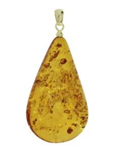 Anhänger – Tropfen ca. 42 mm lang – Gold 585/000 – Bernstein – , OSTSEE-SCHMUCK gelb