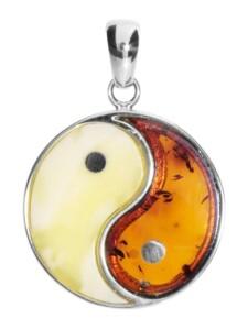 Anhänger – Yin & Yang – Silber 925/000 – Bernstein OSTSEE-SCHMUCK silber