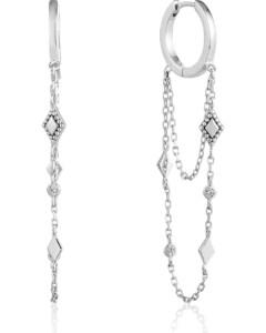Ania Haie Damen-Creole Bohemia Chain Drop Mini Hoops 925er Silber Zirkonia