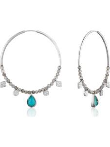 Ania Haie Damen-Creolen Tourquoise Labradorite Hoop 925er Silber Türkis Ania Haie silber