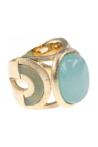 Aqua Jade Cocktail Ring vergoldet