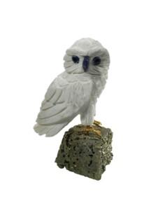 Aragonit Deko Schmuck Edelstein Figur  Eule Vogel 1001 Diamonds schwarz