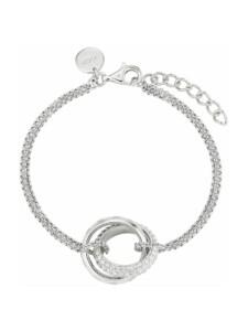 Armband 17+3 cm lange Damen Armkette mit Ring-Anhänger von JOOP!, Silber 925, Zirkonia JOOP! Silber