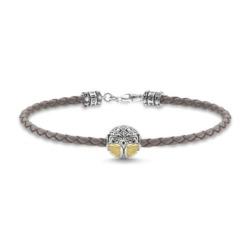 Armband aus grauem Leder mit Lebensbaum-Bead aus Silber