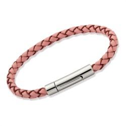 Armband echtes Leder 4mm 17cm 19cm Pink