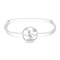 Armband Hirsch aus grauem Textil und Sterlingsilber