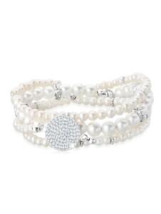 Armband Layering Synthetische Perlen 925 Silber Elli Premium Weiß