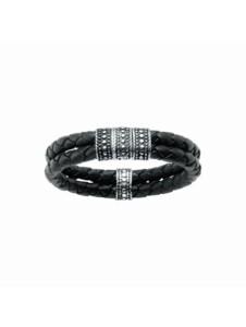 Armband mit Ornament, teilweise oxydiert, Leder schwarz, Silber 925 Giorgio Martello Schwarz