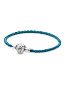 Armband – Türkisfarbenes geflochtenes Lederarmband mit Muschelverschluss – Pandora Blau