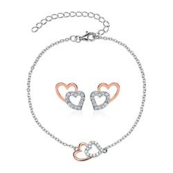 Armband und Ohrstecker Herzen aus 925er Silber, rosé