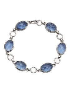 Armband 925/- Sterling Silber Quarz (beh.) blau 20,5cm Glänzend Jamelli Silbergrau