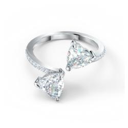 Attract Soul Heart Ring, weiss, rhodiniert
