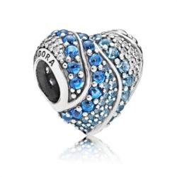 Bead Aqua Heart 925er Silber