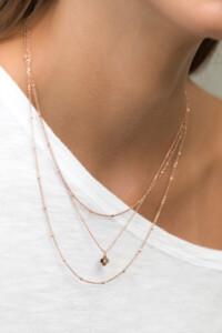BEADS LAYER Halskette rosé vergoldet