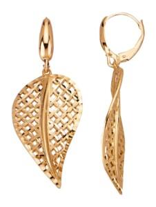 Blatt-Ohrringe Diemer Gold Gelbgoldfarben