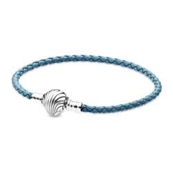 Blaues Lederarmband Muschel für Damen