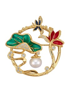 Blüten-Brosche Diemer Perle Multicolor