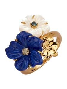 Blüten-Ring Diemer Farbstein Blau