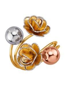 Blüten-Ring in Gelb-Weiß und Roségold 585 Diemer Gold Gelb