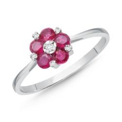 Blüten-Ring Rubine und Diamanten 0,567 ct gesamt