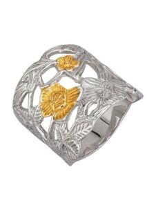 Blüten-Ring Ursula Christ Silberfarben