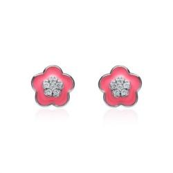Blumen Ohrstecker 925er Silber Zirkonia